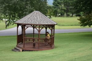 gazebo with young lady reading